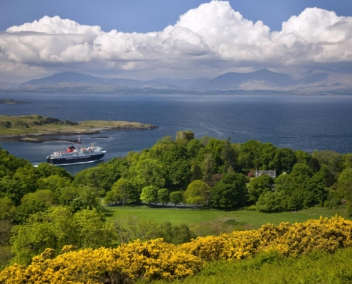 Oban to Mull ferry passes Dunollie from battleship hill